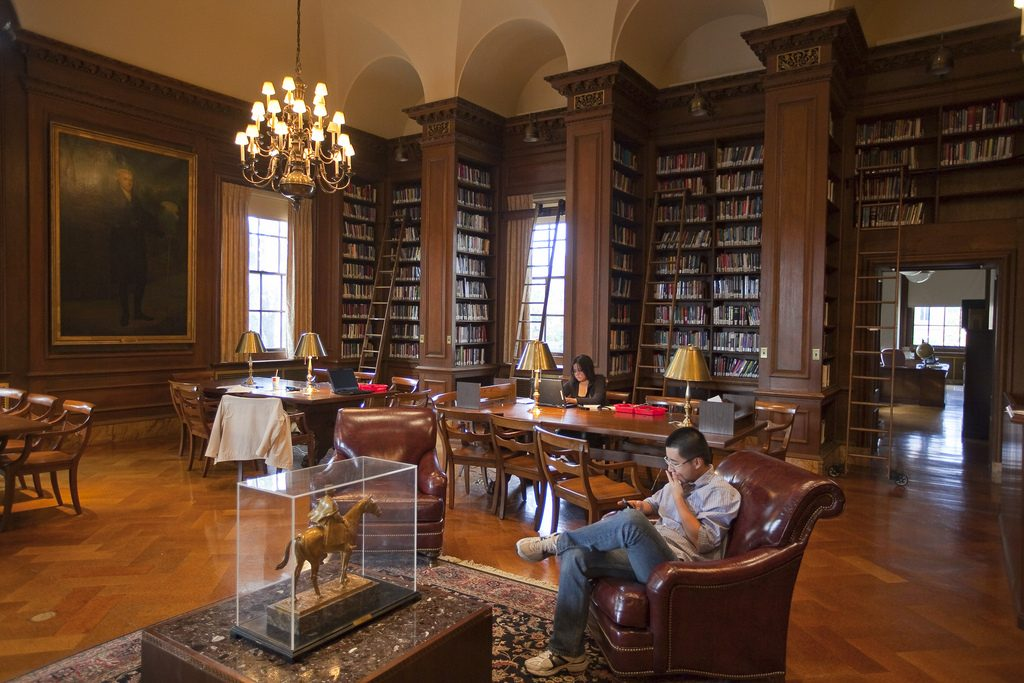 Students studying in Kirby Library