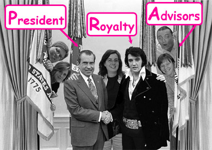 Lafayette Librarians with Nixon and Elvis